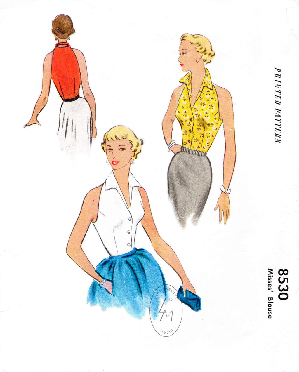McCall's 8530 1950s 1951 halter top dart fitted with pointed collar vintage sewing pattern reproduction