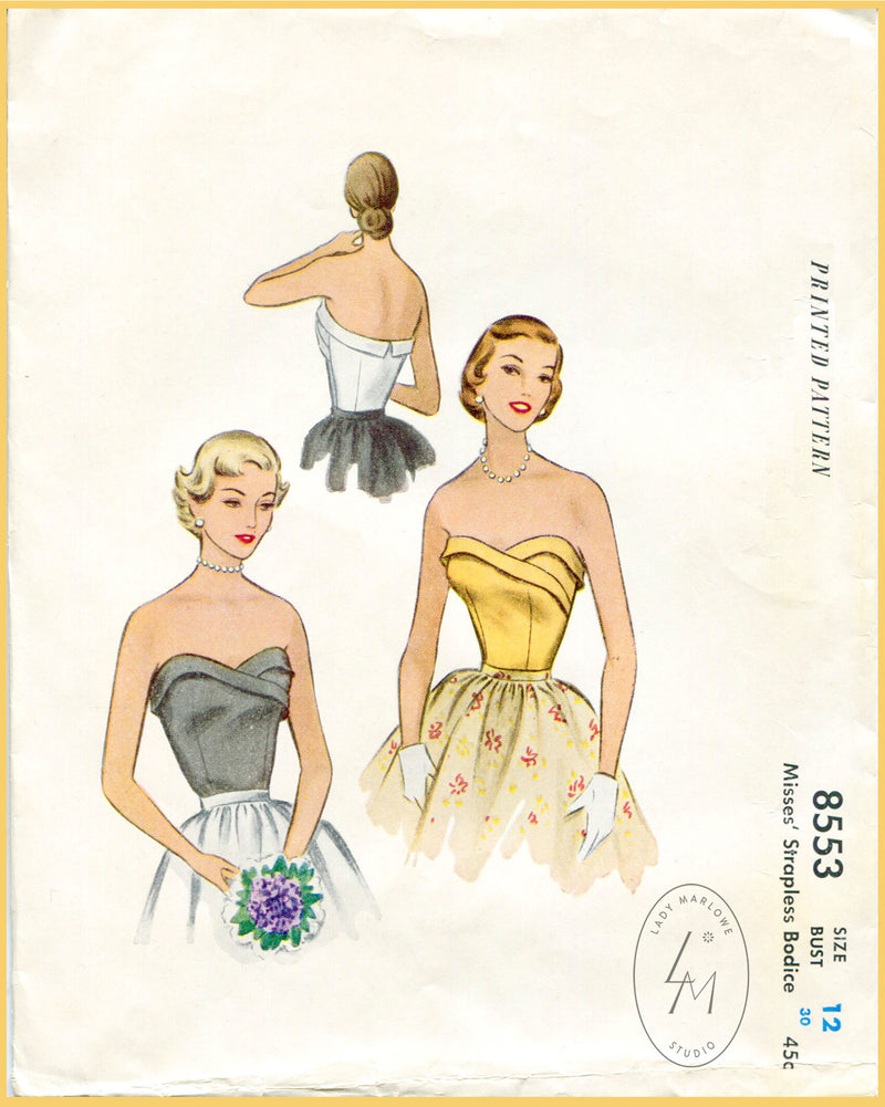 McCall 8553 1950s bustier top sewing pattern