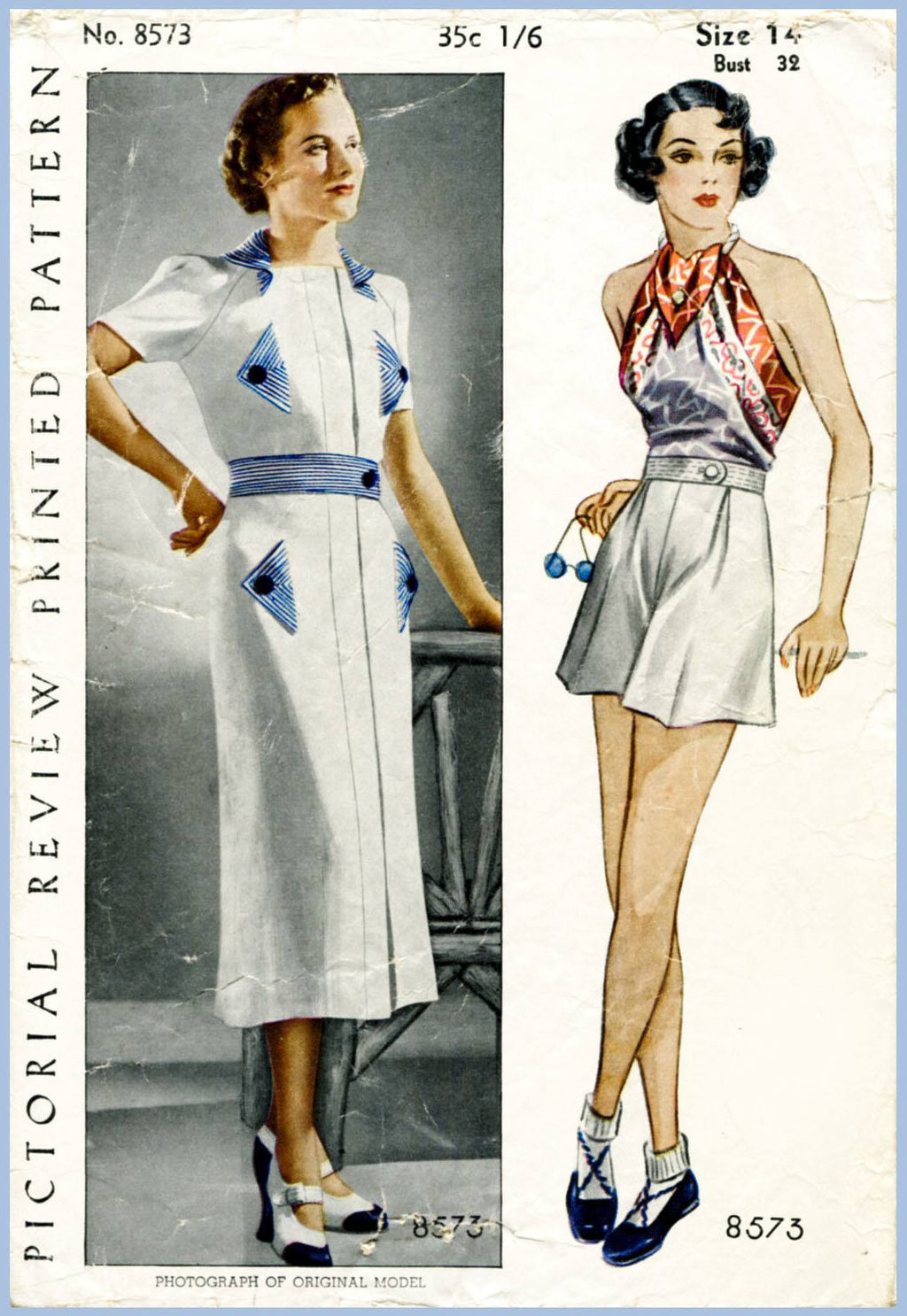 Pictorial Review 8573 1930s playsuit sports dress vintage sewing pattern