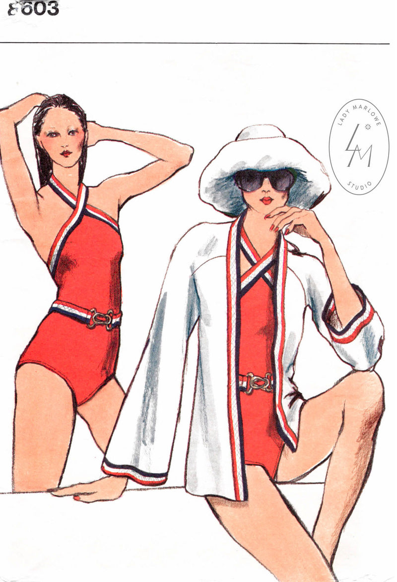 1960s 1970s beachwear one piece bathing suit and knit cardigan vintage sewing pattern reproduction Vogue 6803