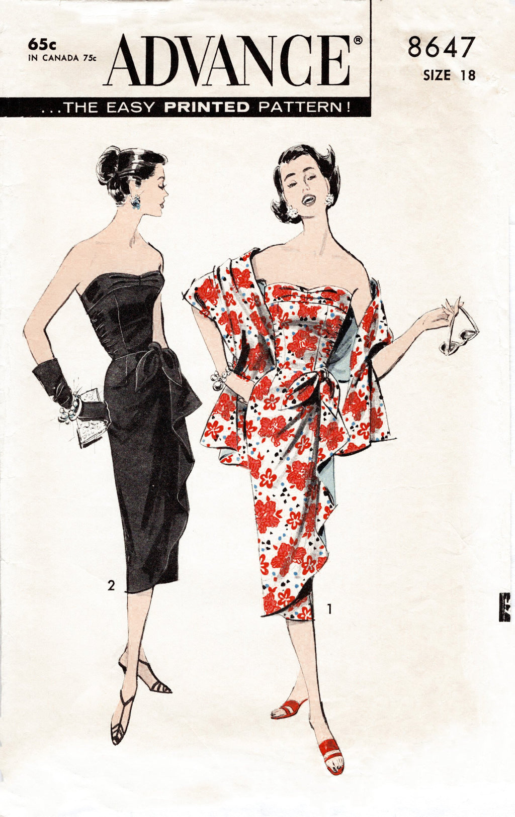 Advance 8647 1950s sarong dress sewing pattern
