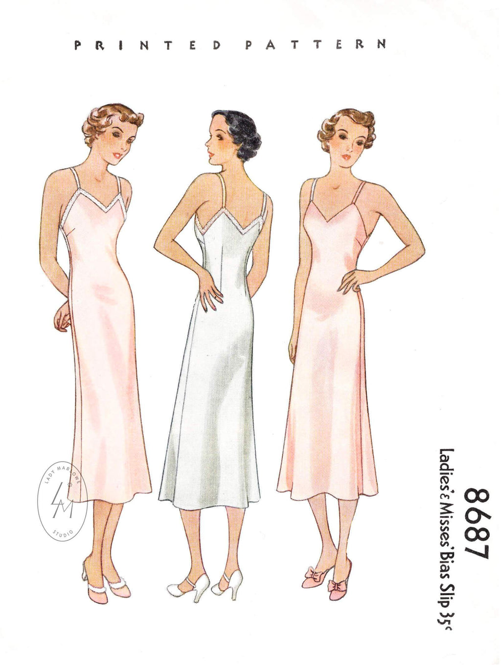 1930s 1936 McCall 8687 easy to make slip dress with v neckline vintage sewing pattern reproduction