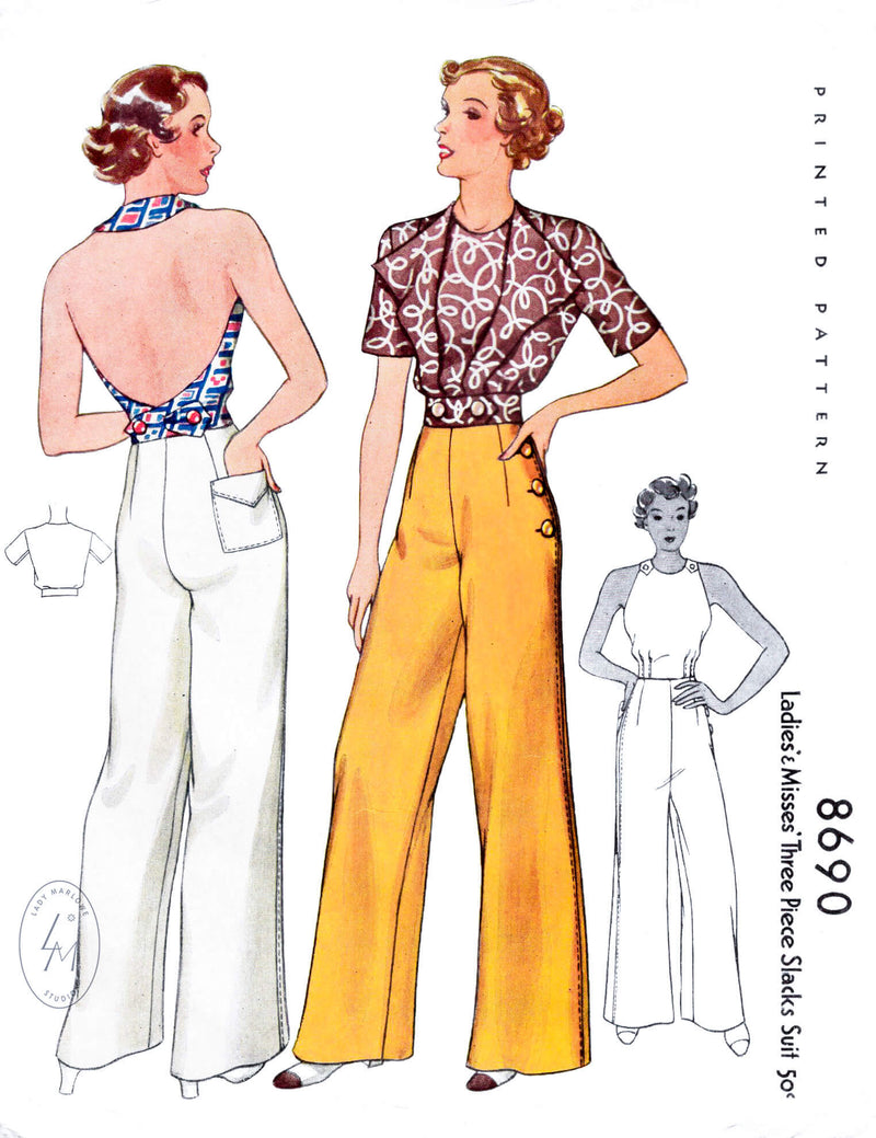 McCall 8690 1930s 1936 sailor trousers, slacks, halter top, and bolero jacket vintage sewing pattern reproduction