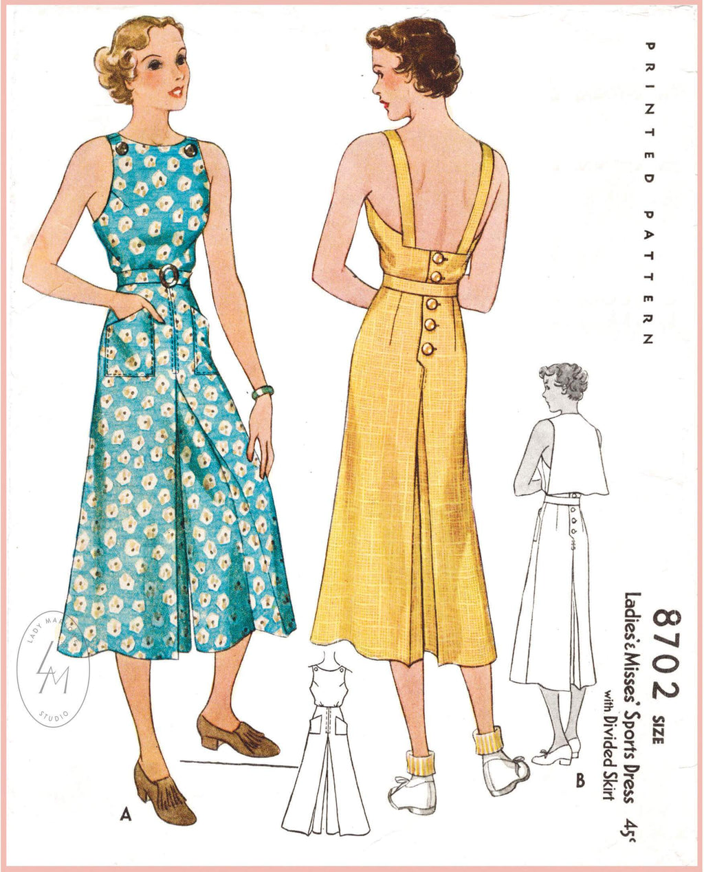 McCall 8702 1930s vintage sewing pattern 1930 30s playsuit