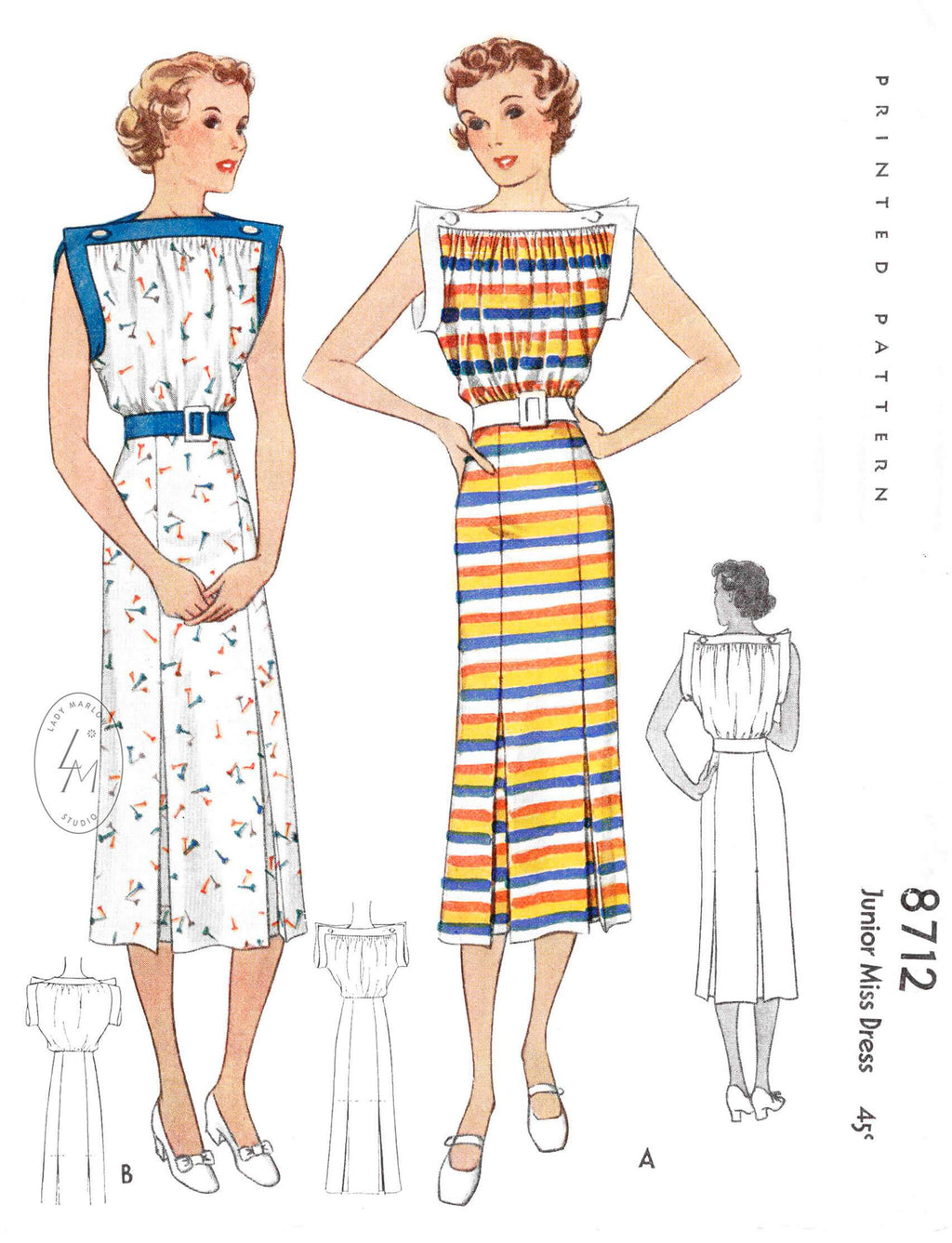 1930s 1936 misses' vintage summer dress sports dress McCall 8712 wide contrast band square bodice inverted pleat skirt sewing pattern reproduction