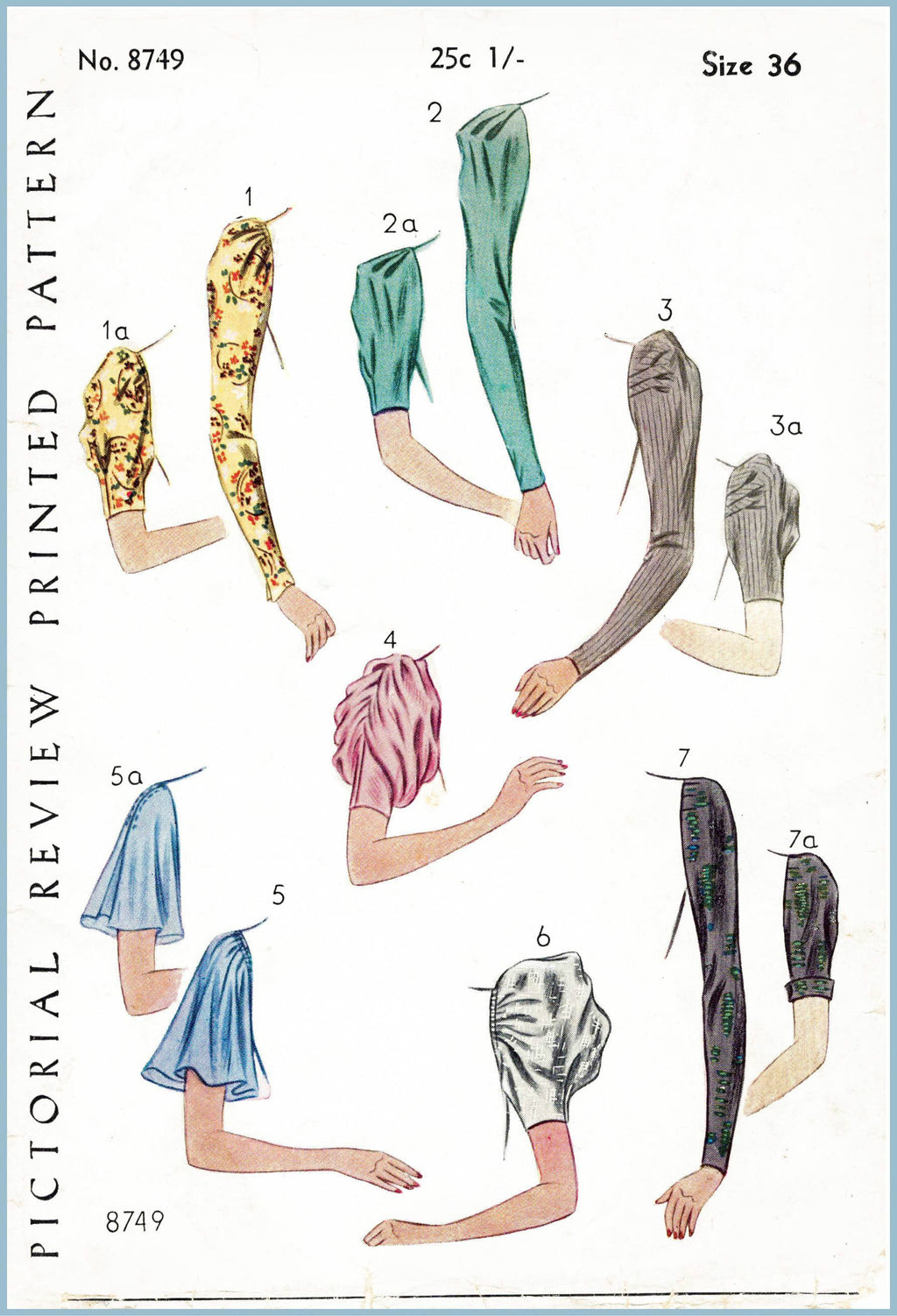 Pictorial Review 8749 1920s set of sleeves vintage sewing pattern