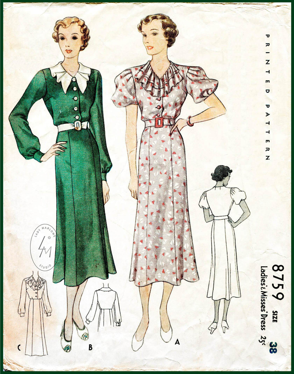 McCall 8759 1930s day dress ruffle collar vintage sewing pattern
