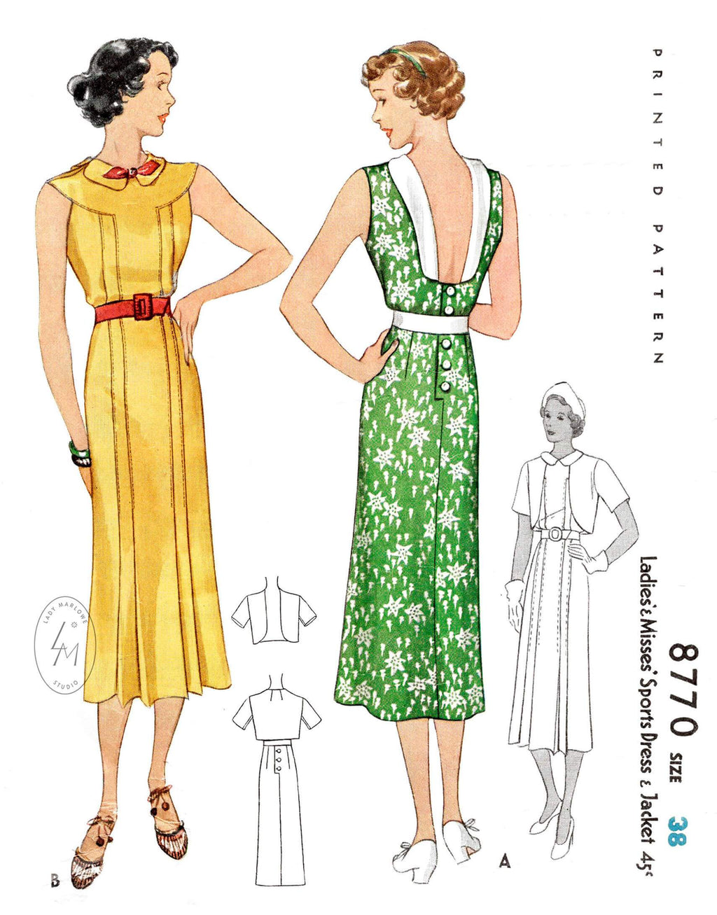 1930s 1936 sports dress & bolero jacket pattern McCall 8770 deep u back neckline knife pleats vintage sewing pattern reproductions