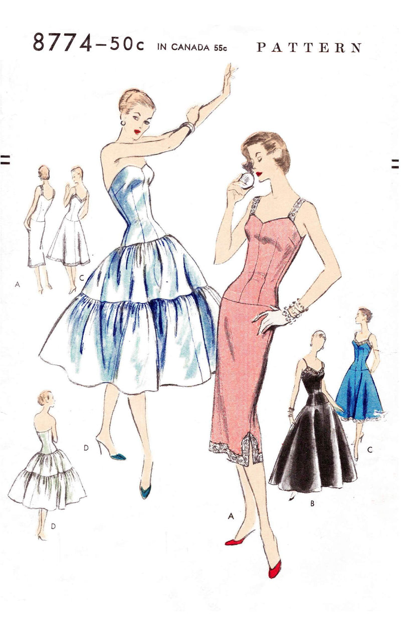 1950s 50s Vogue 8774 vintage lingerie sewing pattern reproduction tiered petticoat slip dress camisole