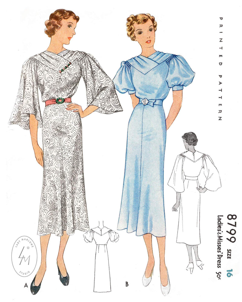 McCall 8799  1930s art deco dress pattern bell sleeves puff sleeves vintage sewing pattern reproduction