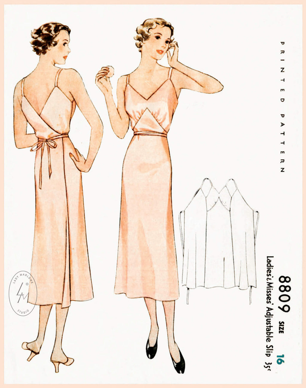 McCall 8809 1930s wrap slip dress vintage lingerie sewing pattern