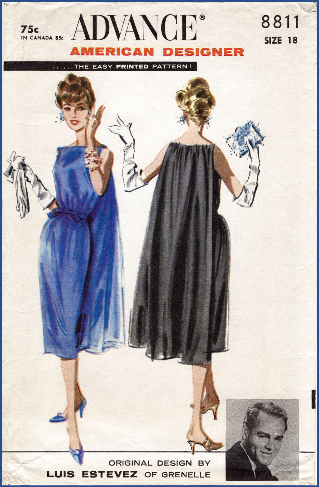 Advance 8811 1950s evening dress sewing pattern