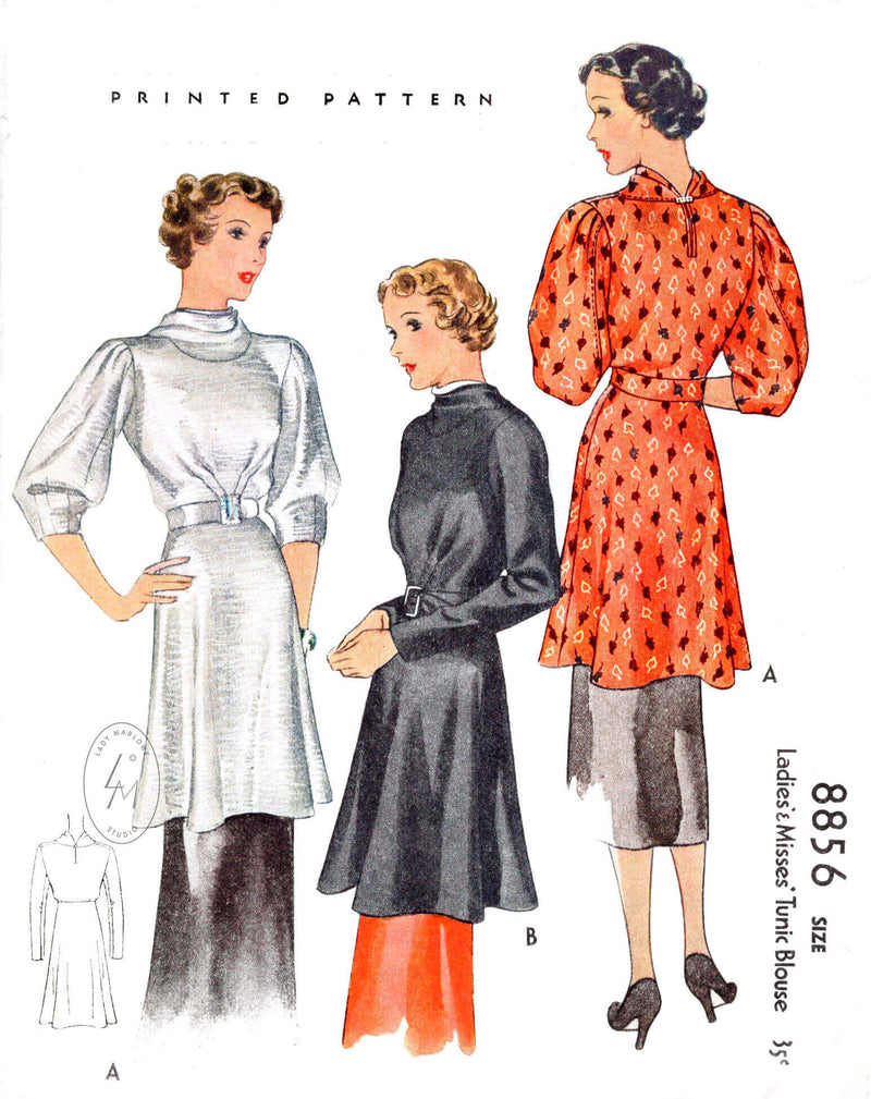 McCall 8856b 1930s 1936 tunic blouse vintage sewing pattern reproduction