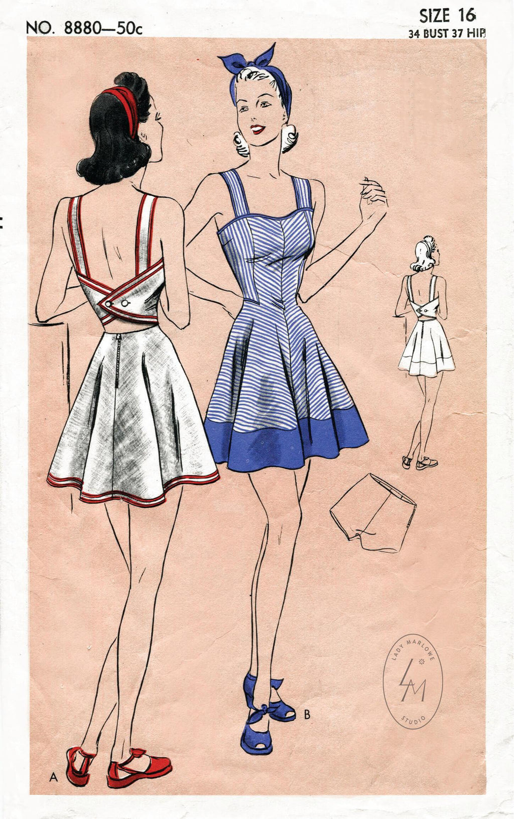 Vogue 8880 1940s swimsuit playsuit beach dress vintage sewing pattern