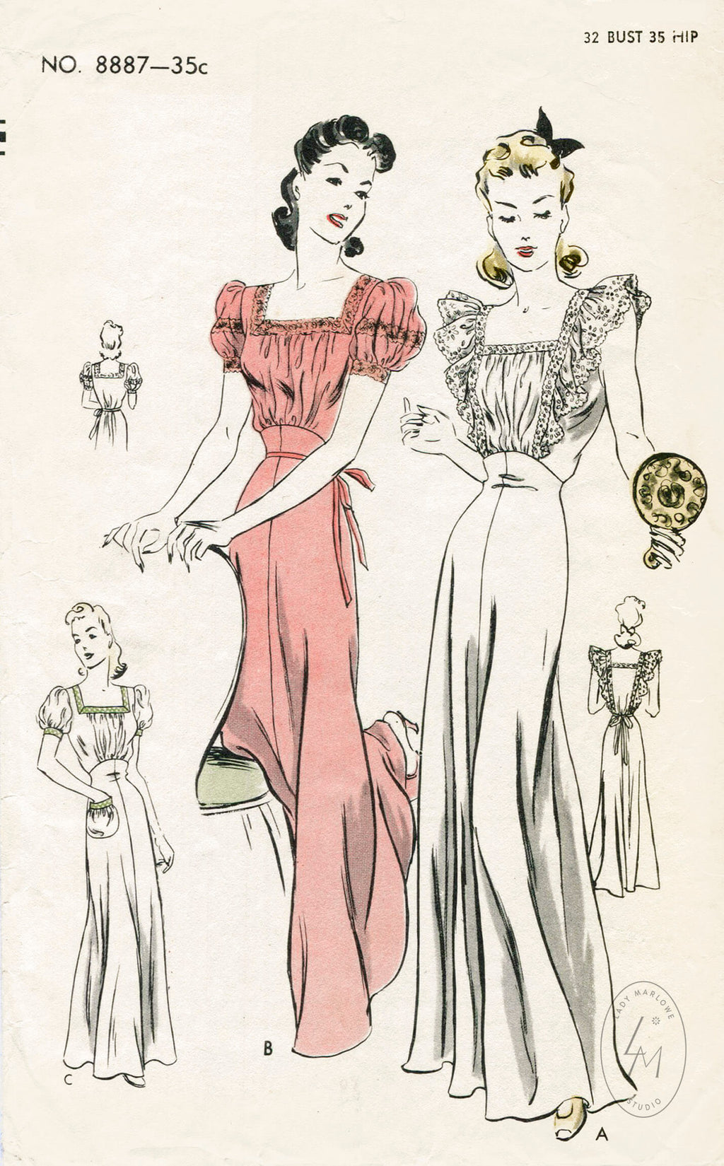 Vogue 887 1940s nightgown vintage lingerie sewing pattern