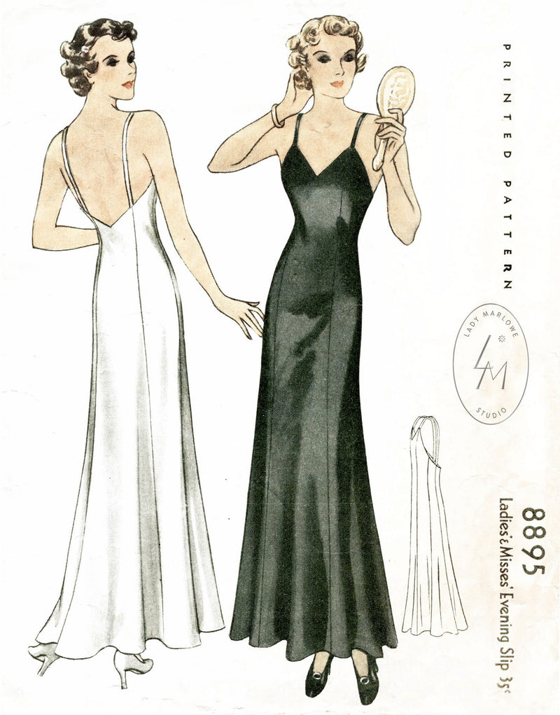 McCall 8895 1930s vintage slip gown vintage lingerie sewing pattern