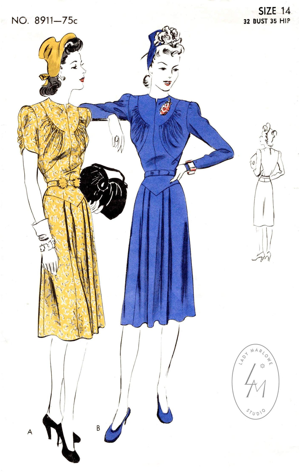 Vogue 8911 1940s day or afternoon dress jewel neck curved seams vintage sewing pattern reproduction