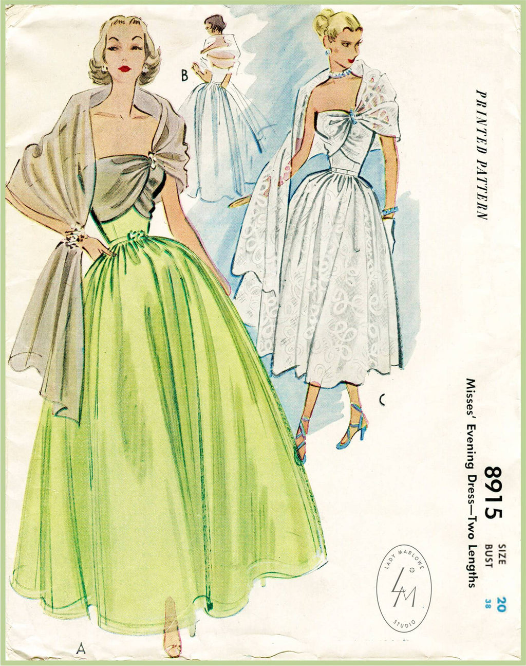 McCall 8915 1950s vintage sewing pattern 1950 50s evening gown