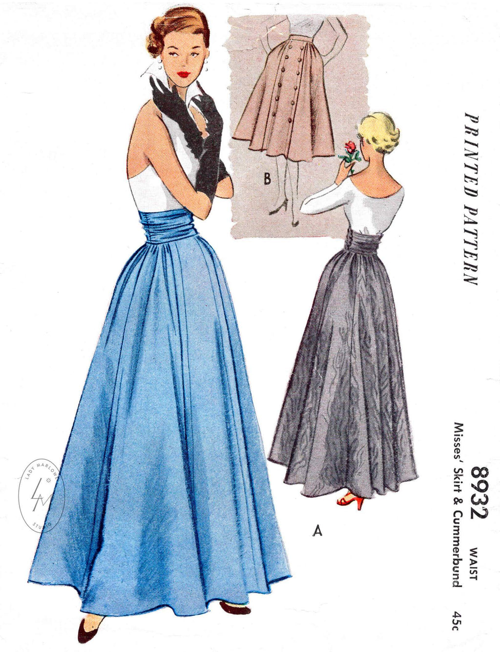 1950s 1952 day or evening skirt McCall's 8932 cinched cummerbund waist full skirt vintage sewing pattern reproduction