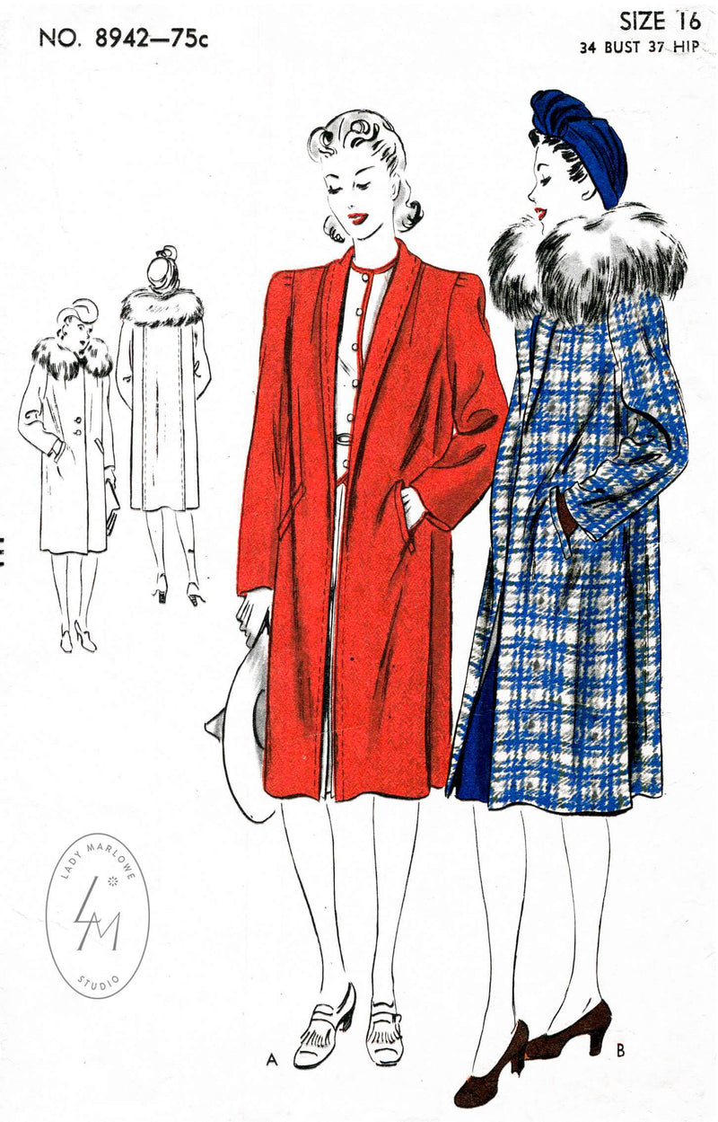 Vogue 8942 1940s vintage sewing pattern 1940 40s coat outerwear