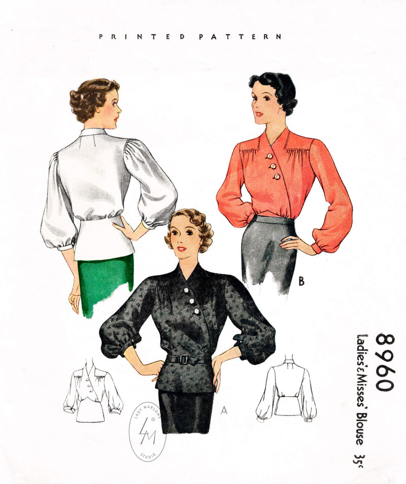 McCall 8960 1930s 1936 set of blouse tops vintage sewing pattern