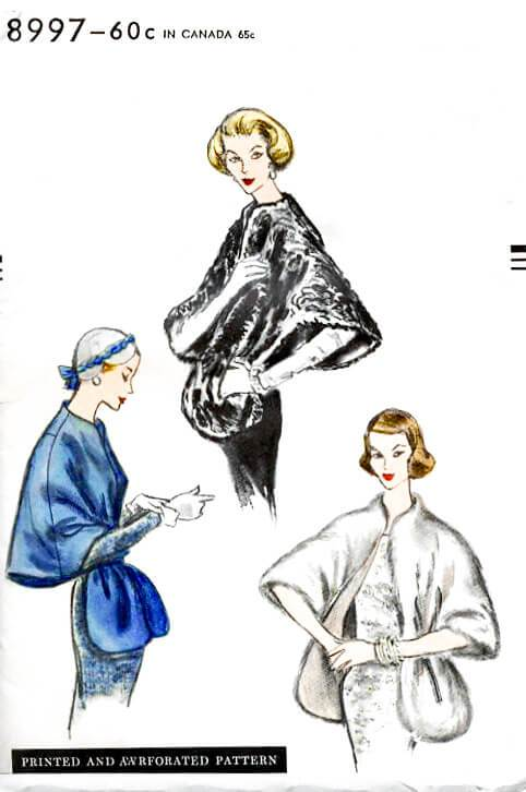 Vogue 8997 1950s cape stole sewing pattern 1950 shawl