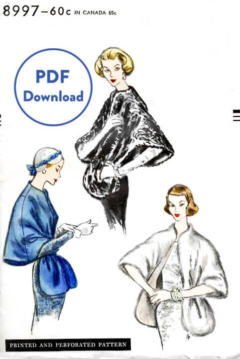Vogue 8997 1950s cape stole sewing pattern 1950 shawl PDF instant download
