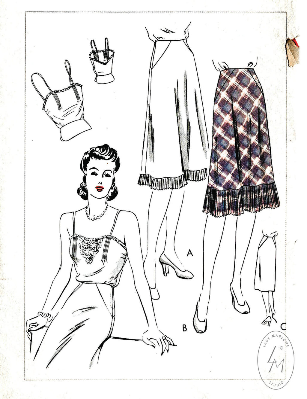 Vogue 8998 camisole and slip skirt vintage lingerie sewing pattern