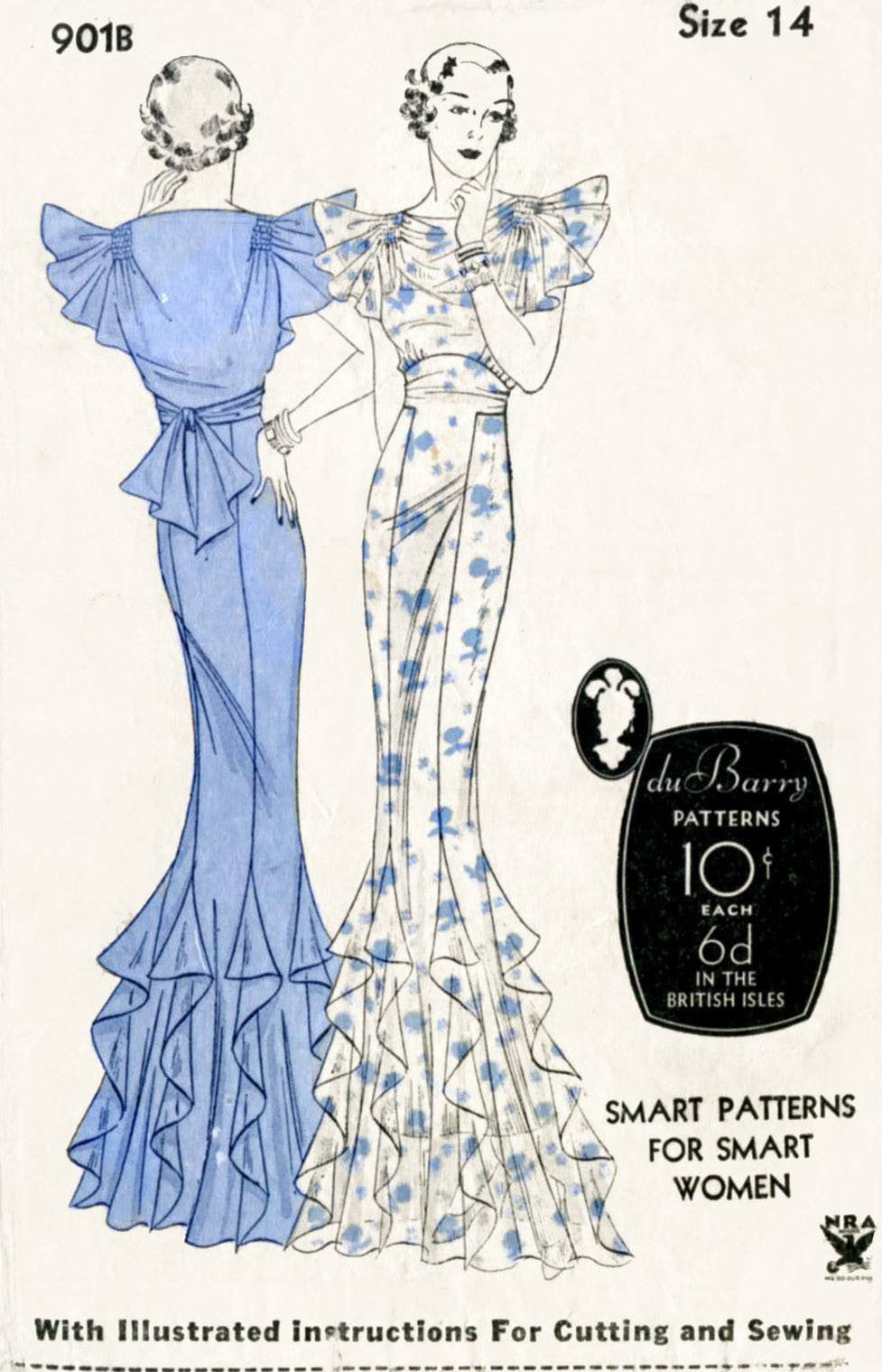 DuBarry 901B 1930s evening gown vintage sewing pattern