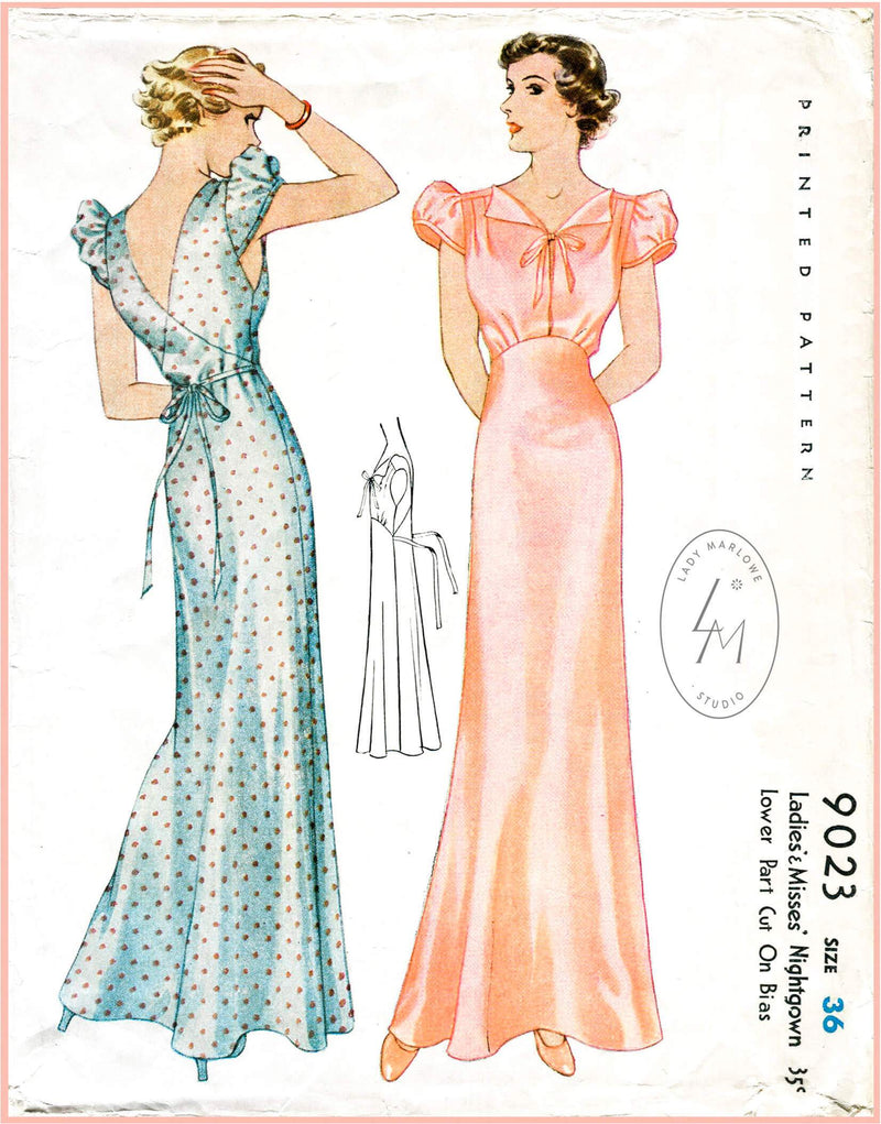 McCall 9023 1930s vintage lingerie sewing pattern 1930 30s puff sleeve negligee