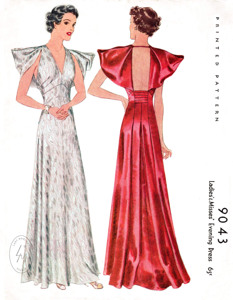 McCall 9043 1930s vintage sewing pattern reproduction evening gown dramatic sleeves backless