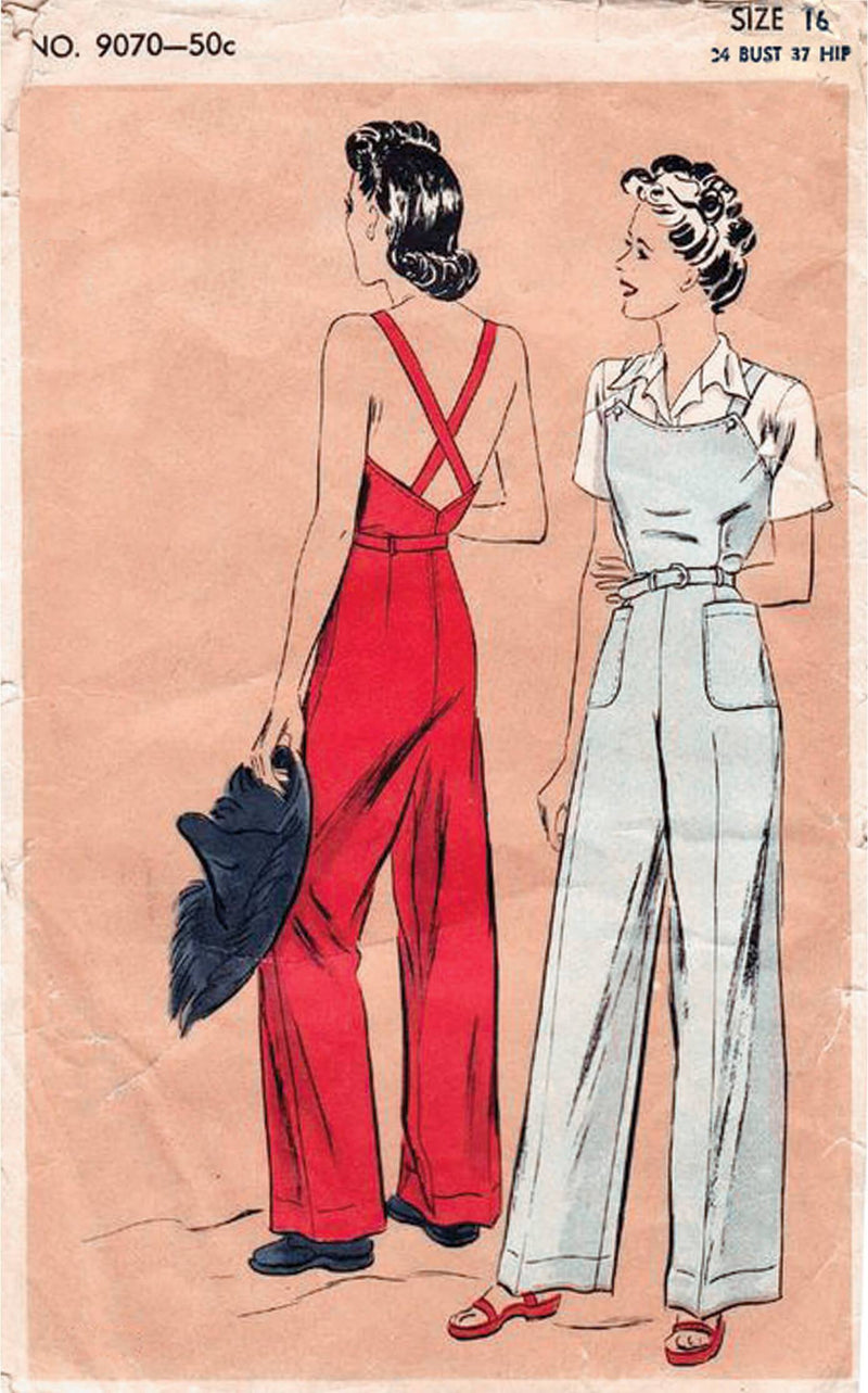 Vogue 9070 1940s Rosie the Riveter overalls sewing pattern slacks pants