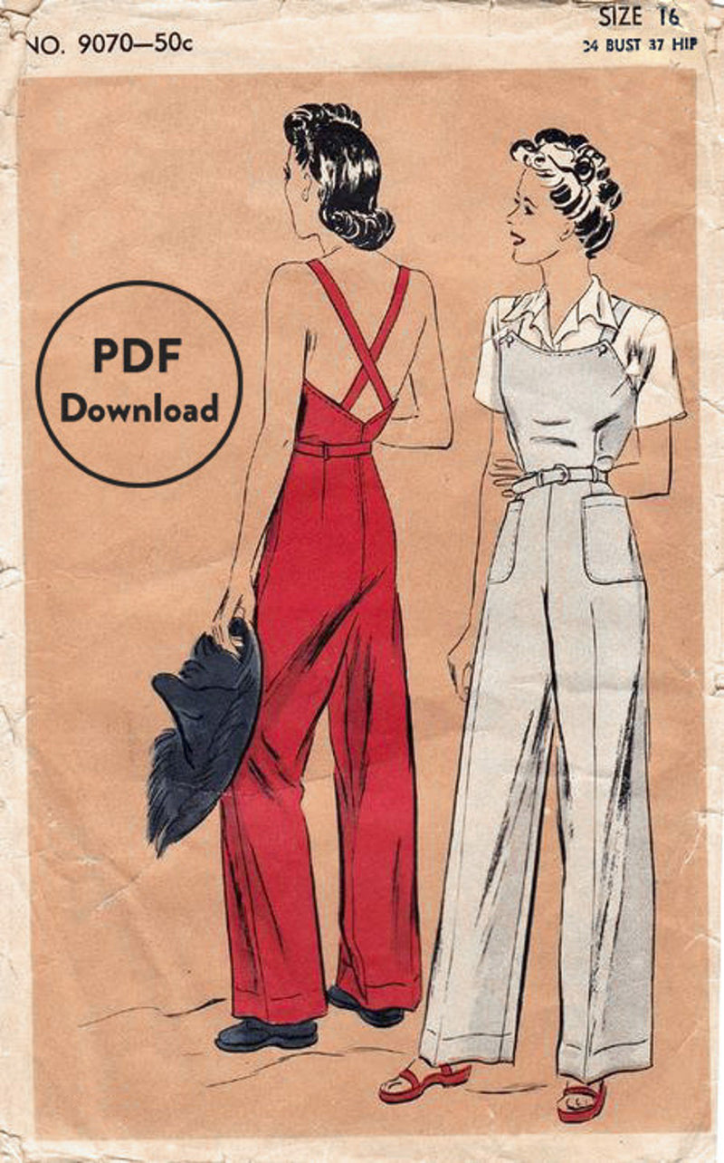 Vogue 9070 1940s Rosie the Riveter overalls sewing pattern slacks trousers
