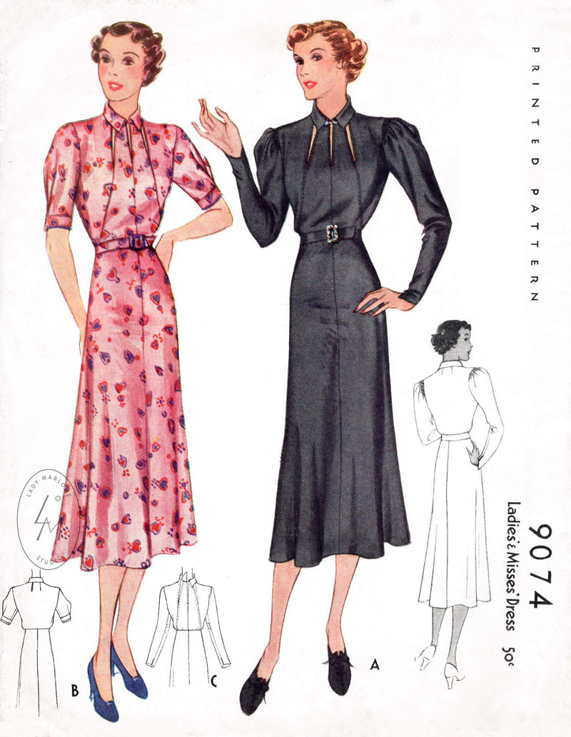 McCall 9074 1930s 1936 dress vintage sewing pattern