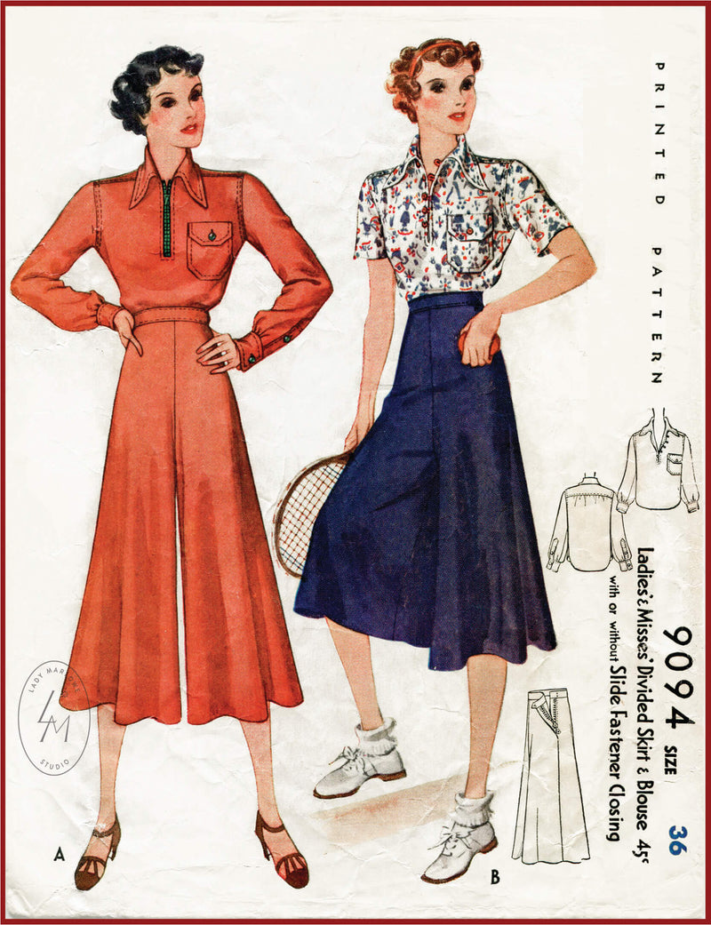 McCall 9094 1930s wide leg culottes and blouse sewing pattern