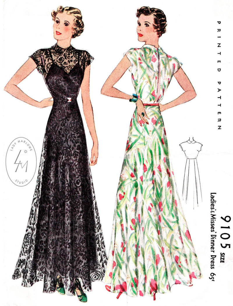 McCall 9105 1937 1930s evening gown vintage sewing pattern repro
