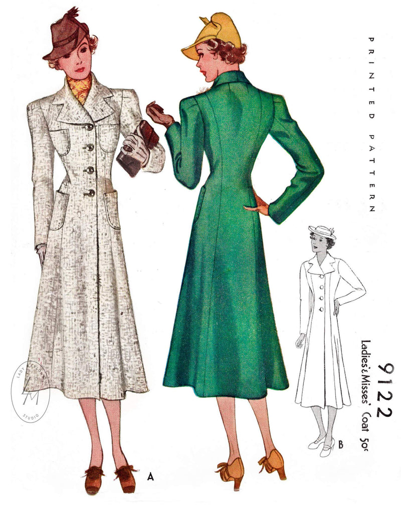 1930s 1937 outerwear coat pattern McCall 9122 notch collar princess seams flared hem vintage sewing pattern reproduction