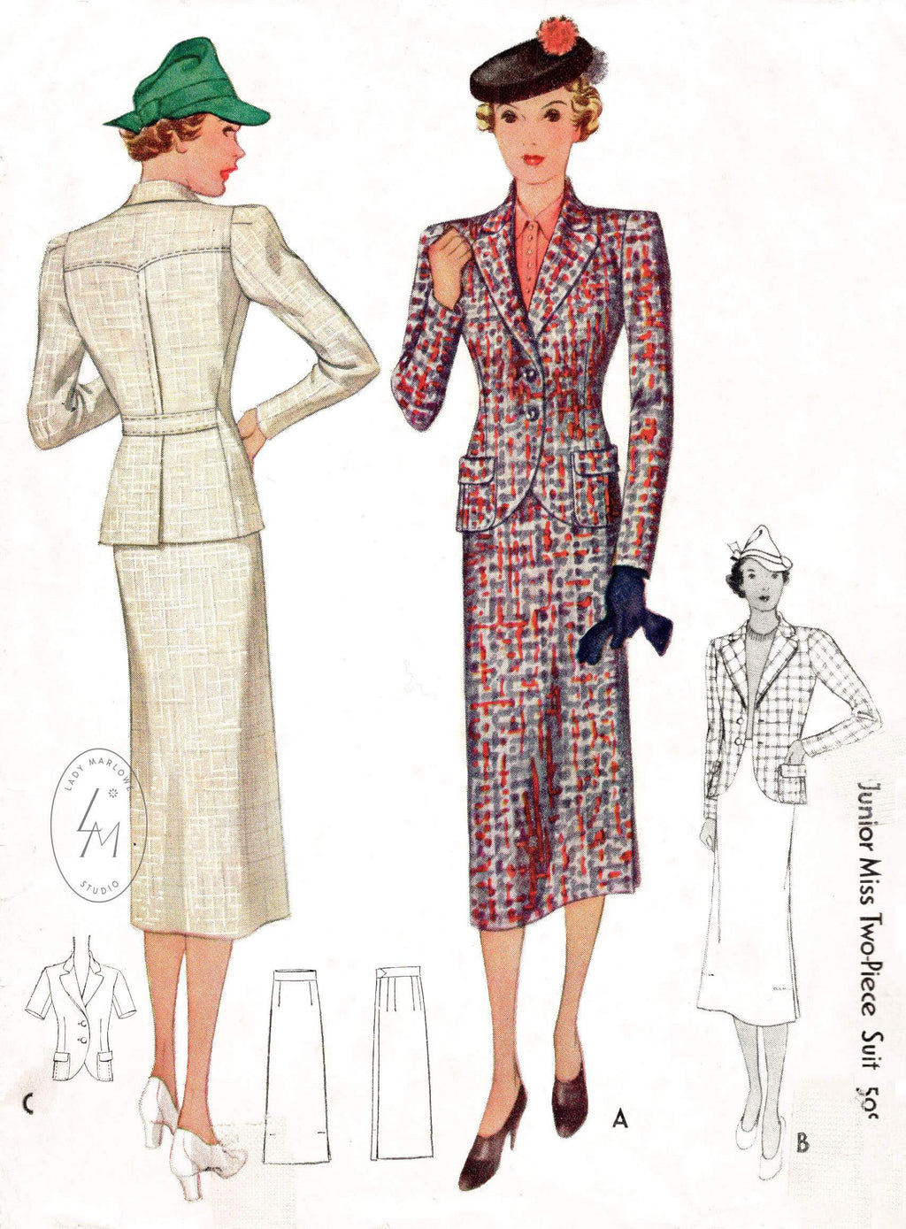 1930s McCall 9148 two piece suit skirt vintage sewing pattern