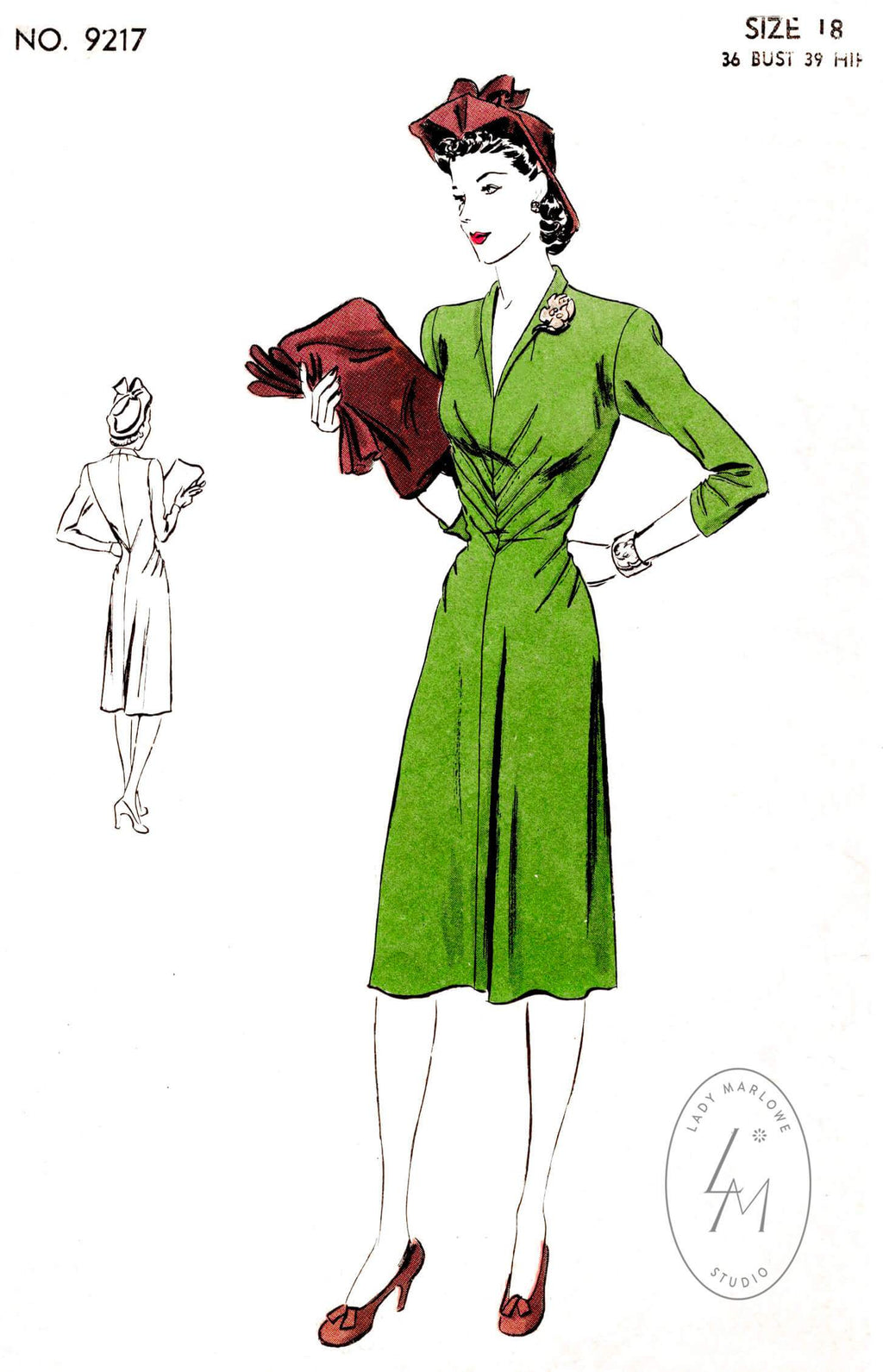 Vogue 9217 1940s dress pattern radiating dart detail shawl collar