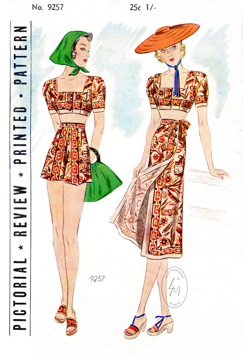 1920s 1930s Pictorial Review 9527 beachwear crop top high waist shorts wrap skirt vintage sewing pattern reproduction