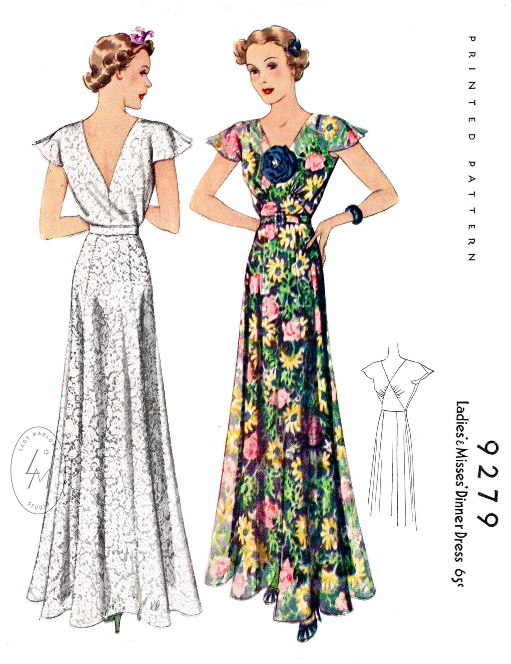 McCall 9279 1930s evening gown wedding dress vintage sewing pattern reproduction