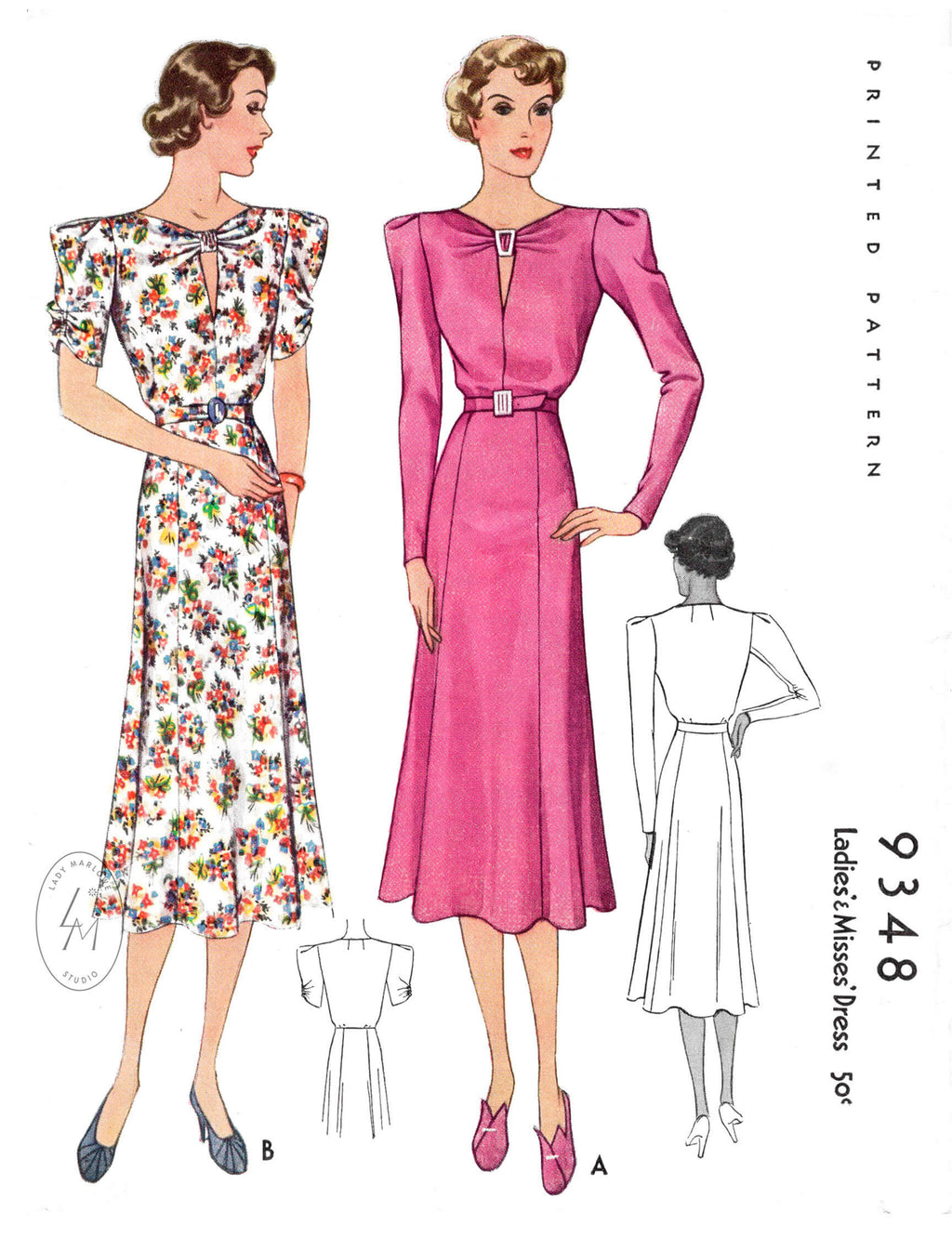 1930s 1937 vintage day dress McCall 9348 statement sleeves flounce skirt ruching detail reproduction sewing pattern