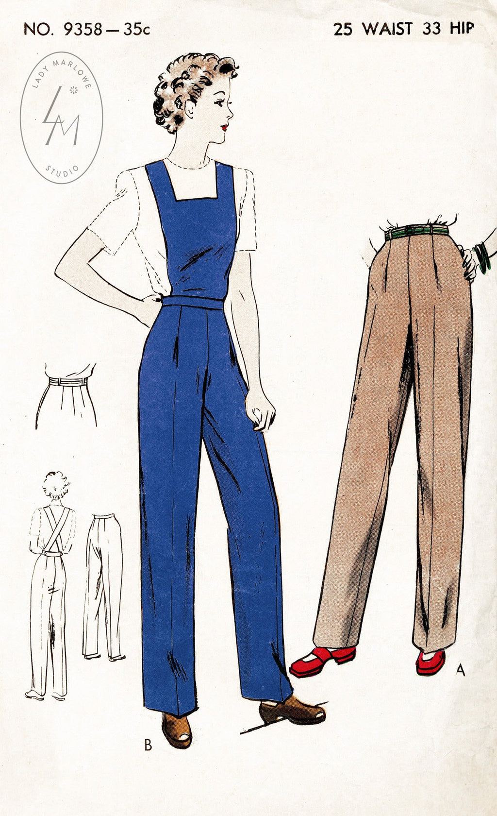 Vogue 9358 1940s vintage sewing pattern 1940 40s slacks pants workwear overalls