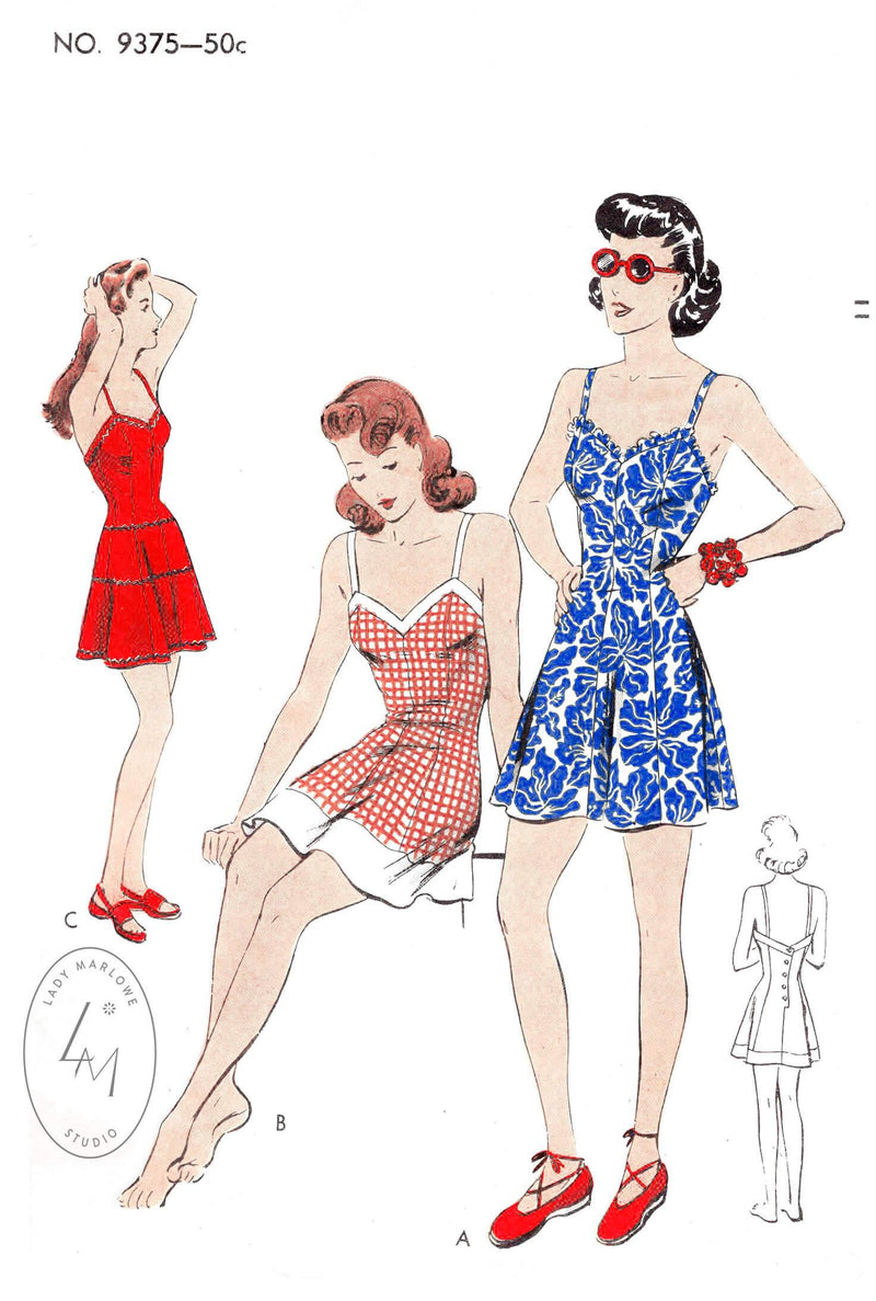 Vogue 9375 1940s 1942 vintage playsuit romper bathing suit vintage sewing pattern reproduction