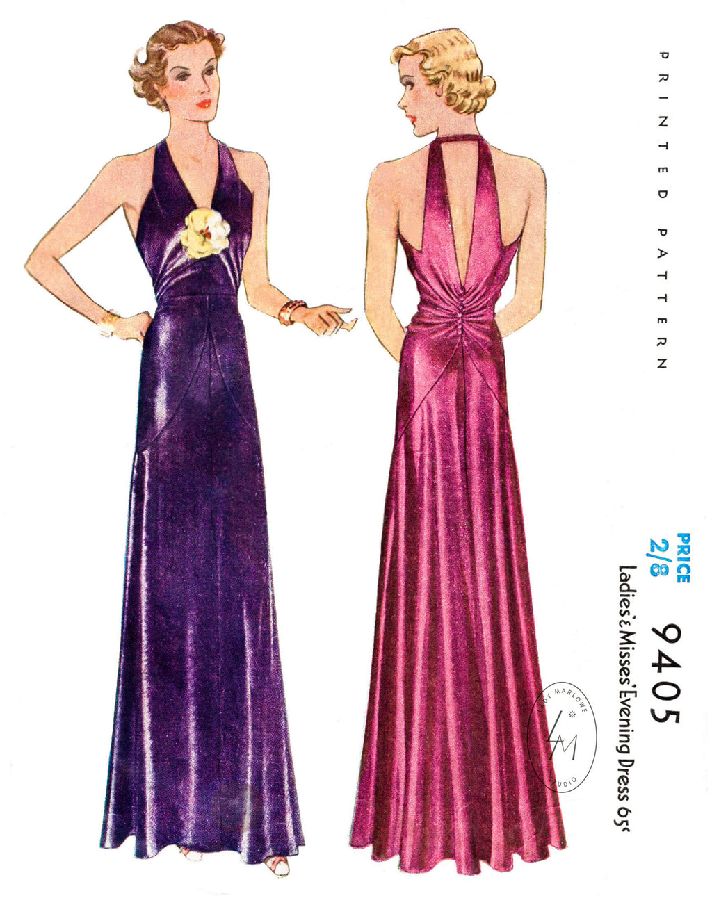 1930s 1937 Ninca Ricci McCall 9405 vintage evening gown sewing pattern reproduction