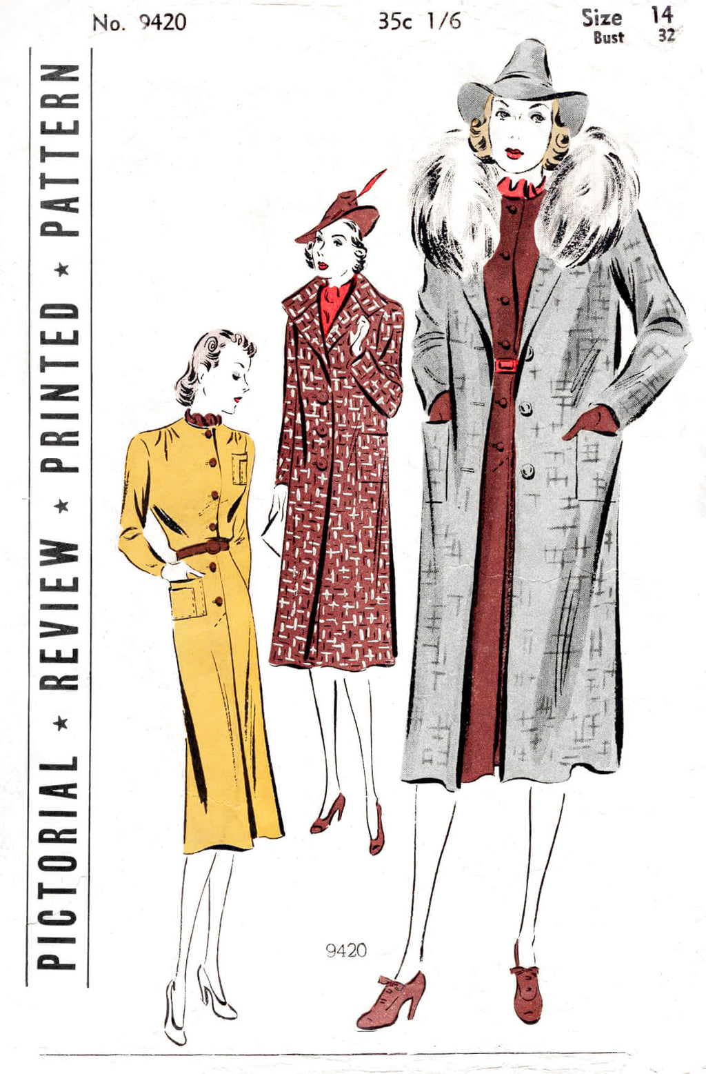 Pictorial 9420 1930s 30s winter coat detachable fur collar skirt blouse three piece ensemble vintage sewing pattern reproduction