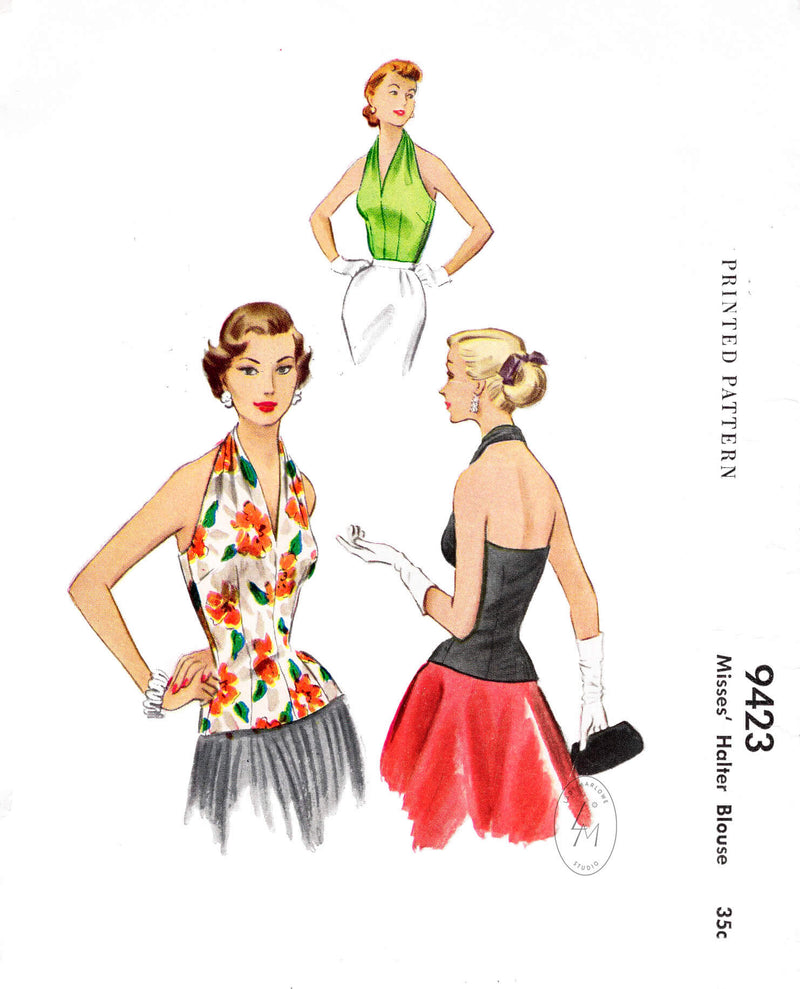 McCall's 9423 1950s 1953 halter blouse vintage sewing pattern reproduction