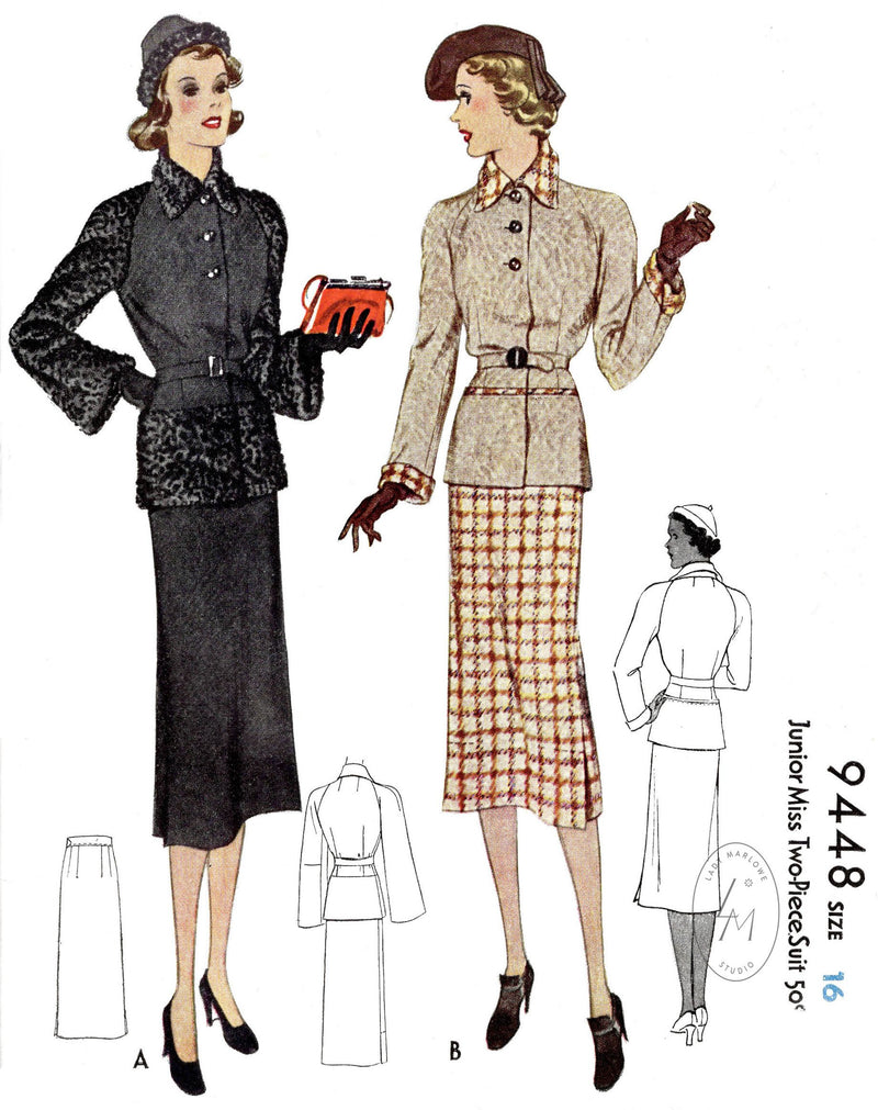 McCall 9448 1930s 1937 two piece suit raglan sleeve jacket vintage sewing pattern reproduction