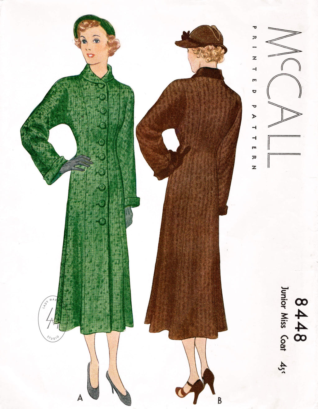 1930s McCall 8448 princess seam coat 1935 vintage sewing pattern reproduction