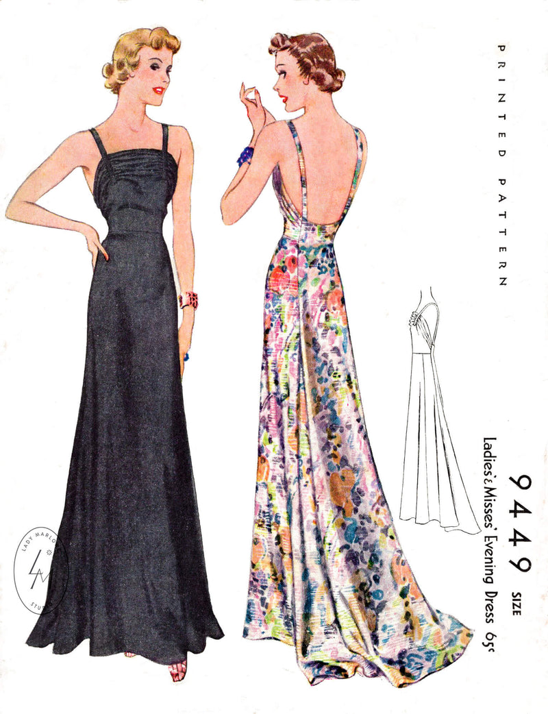 1930s 1937 Maggy Rouff McCall 9449 vintage evening dress spaghetti straps sewing pattern reproduction